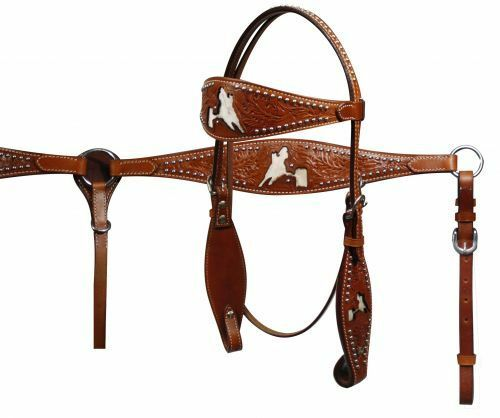 Showman Dbl Stitched Headstall Breastcollar Set with Barrel Racer Inlay & Reins