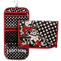 Dc Comics Harley Quinn Cosmetic Makeup Travel Bag Toiletry Case W/ Hanging Hook