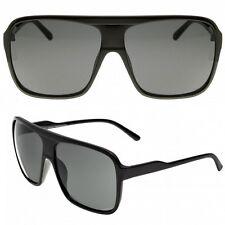 Retro Curved police AVIATOR Black Plastic Sunglasses 70 Fashion Rectangular New