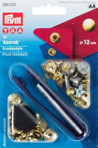 PRYM ANORAK Bottone Bottoni A Pressione Oro 12mm con utensili 390332