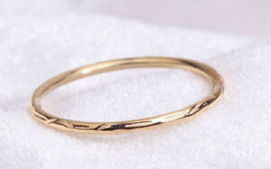 14k Solid Gold Ring~round Ring~carving Ring~unique Ring~wedding Ring~sjr0969 Attractive Appearance Jewelry & Watches