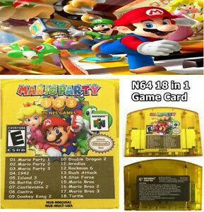 US-SHIP-18-in-1-Game-Card-Mario-Party-1-2-3-15-Classic-NES-For-Nintendo-N64