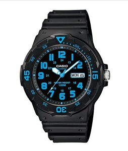 Casio Watch * MRW200H-2BV Diver Look 100WR Neon Blue Black Resin COD PayPal