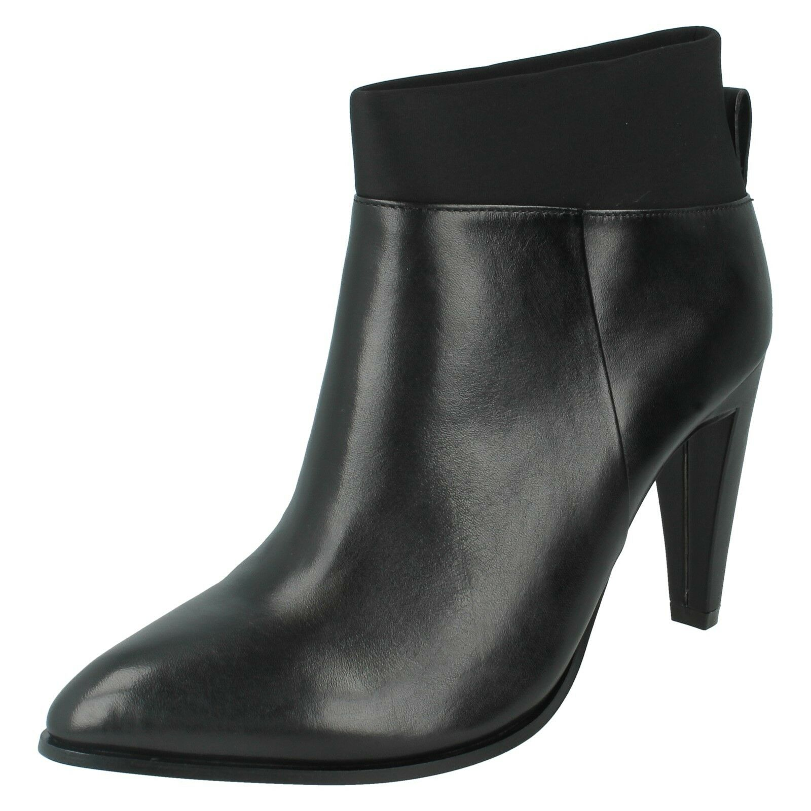 LADIES CLARKS AZIZI POSEY LEATHER POINTED TOE HIGH HEEL CLASSIC ANKLE BOOTS
