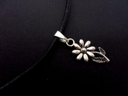 """Un cordón de cuero negro de Damas 13-14/"""" flor encanto collar gargantilla Nueva."""