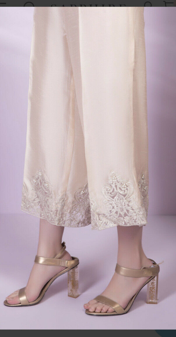 Sapphire Extra Large Light Beige Silk Embroidered With Beads Trouser