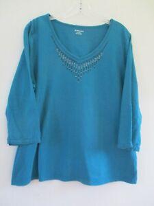 St-John-039-s-Bay-Women-039-s-Size-XL-100-Cotton-Solid-Blue-3-4-Sleeve-Blouse-Shirt