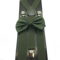 Camo Green Unisex Bow Tie & Suspender Tuxedo Wedding Party Apparel Accessories