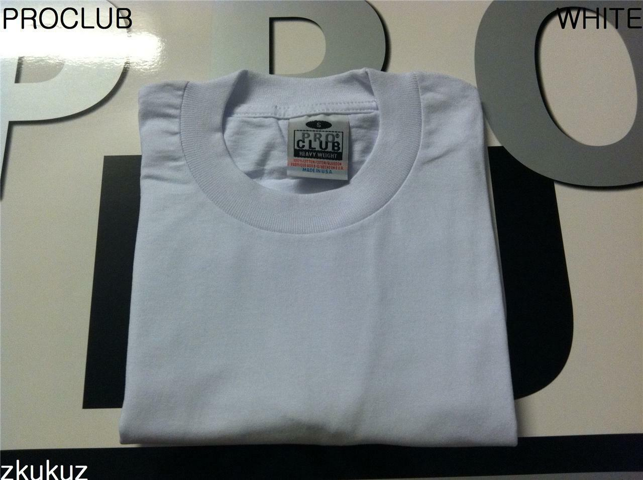 12 NEW PROCLUB HEAVY WEIGHT T-SHIRT WHITE PLAIN PRO CLUB BLANK S-3XLT 12PC