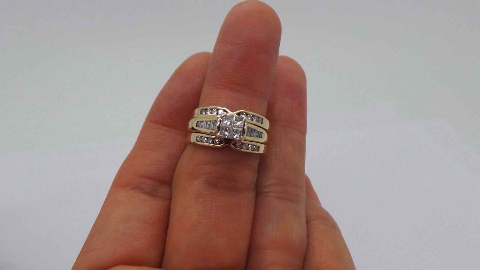 STUNNING 14K YG PRINCESS CUT DIAMOND BRIDAL SET SZ 6.75 1.00 tcw A7296-1 8.0 grm