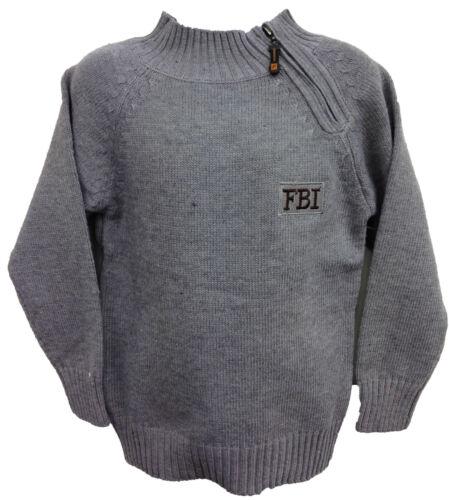 BOYS JUMPER KNITWEAR TOP FBI SIDE ZIP 2-11 YEARS BNWT