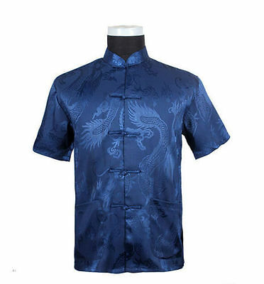 blue burgundy Chinese Tradition Men's Dragon Kung Fu Shirts M-3XL