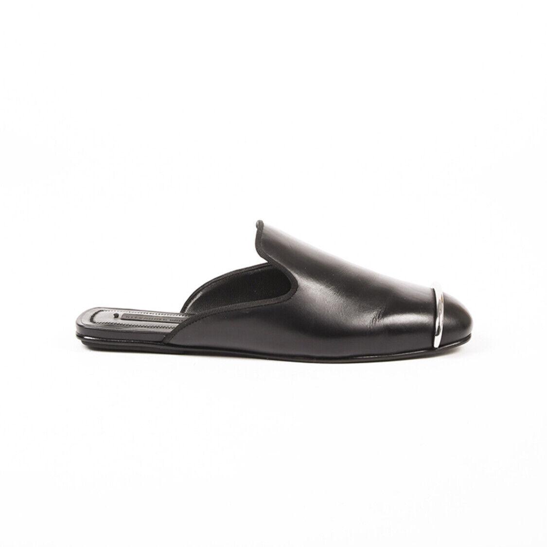 Alexander Wang Jaelle cuir noir bout carré Mules SZ 35