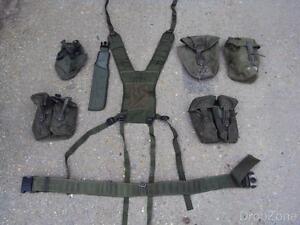 British Military Army Olive Green PLCE Webbing Set, Pouches, Yoke, Belt,Scabbard