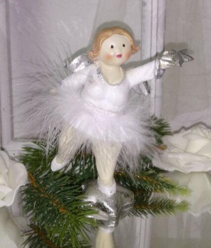 Engel Anhänger weiss silber Christbaumschmuck Weihnachten Shabby Deko