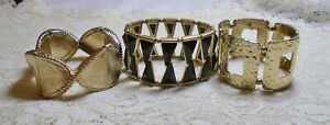 VINTAGE-TO-NOW-ASSORTED-BLACK-amp-GOLD-METAL-CHUNKY-WIDE-STRETCH-BRACELET-LOT