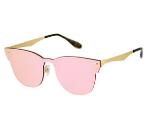 fb182c338d Ray-Ban Blaze Clubmaster Gold Frame Pink Mirror Lenses Unisex ...
