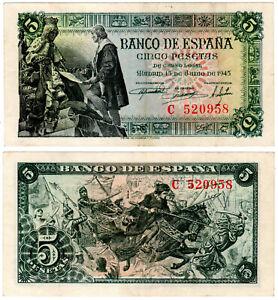 BILLETE-5-PESETAS-ESTADO-ESPANOL-15-JUNIO-1945-SERIE-C-VF-MBC
