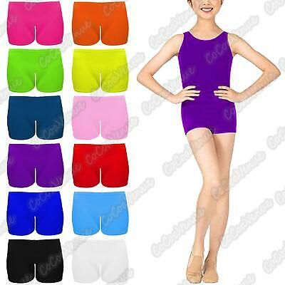 Ladies Microfiber Neon Hot Pants Womens Sleeveless Vest Dance Wear Plain Top