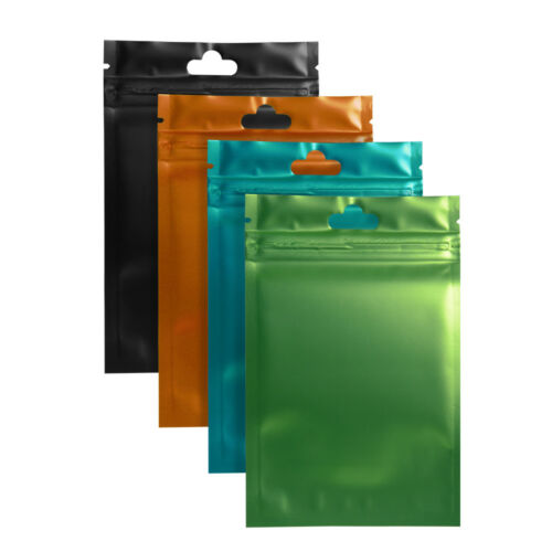 Metallic Foil Mylar Zip Lock Bags Aluminum Resealable Pouch w// Variety of Sizes