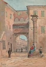 SIENA STREET ROMULUS & REMUS MONUMENT ITALY Victorian Watercolour Painting 1901