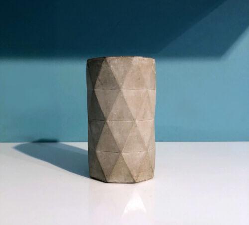 Concrete geometric pen pot handmade small geometric cement gift