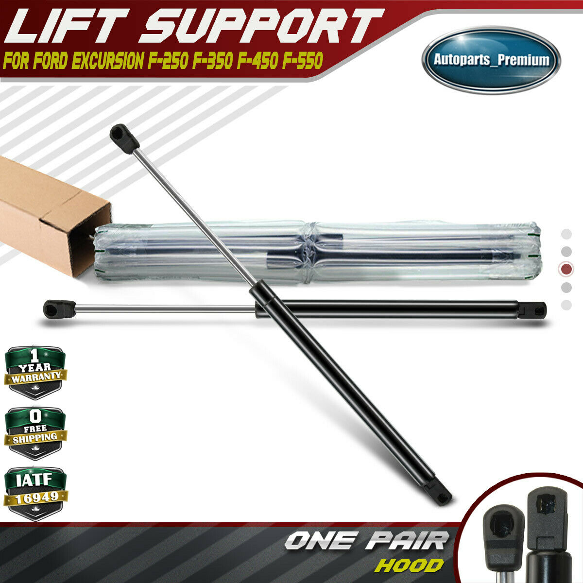2 Pcs Front Hood Lift Supports Shocks Struts Gas Spring For Ford F-250 F-350 F-450 F-550 Super Duty 4339