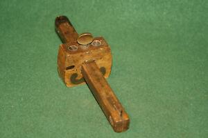 Antique-Vintage-19th-C-Wood-amp-Brass-Stanley-No-65-Scribe-Marking-Gauge-Inv-CL03