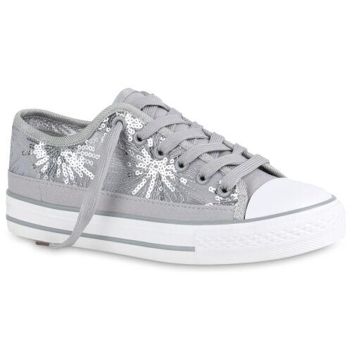 Damen Sneaker Low Spitzenstoff Pailletten Turnschuhe Schnürer 820845 Trendy