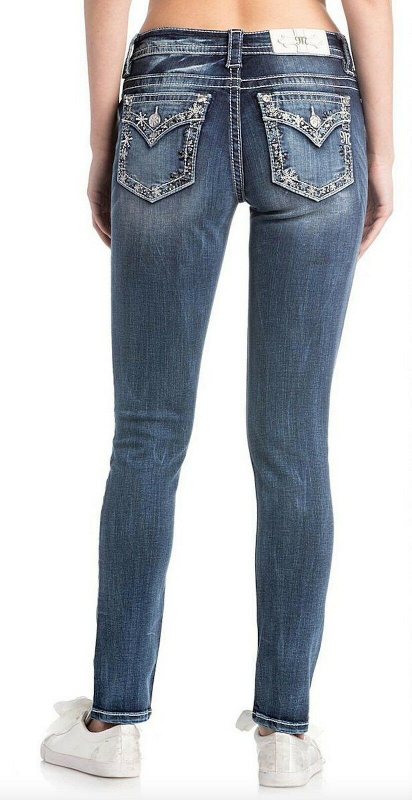 Miss Me Snowflake Border Medium Wash Skinny Cut Jeans M3288S w  Size 32 33 34