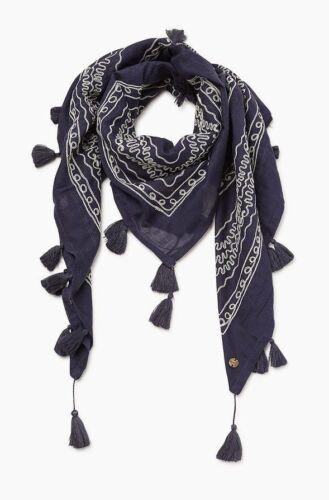 NEU navy ESPRIT Schal Tuch mit Stickerei blau