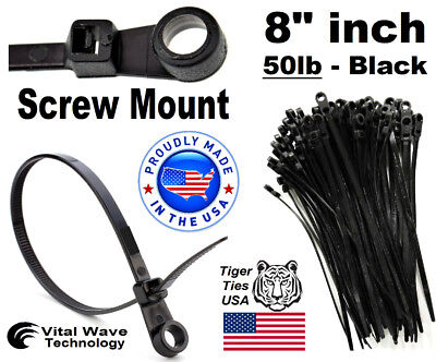 """1000 Screw Hole Mount 8/"""" inch Wire Cable Ties Nylon Tie Wrap 50lb White USA Made"""