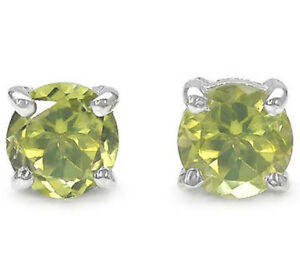 925-Sterling-Silver-Stud-Earrings-with-1-20ctw-Genuine-Peridot-5x5mm-Round