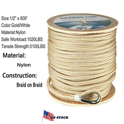 """1//2/"""" x 600/' Double Braided Nylon Rope Anchor Line w Thimble White//Gold Dock Line"""