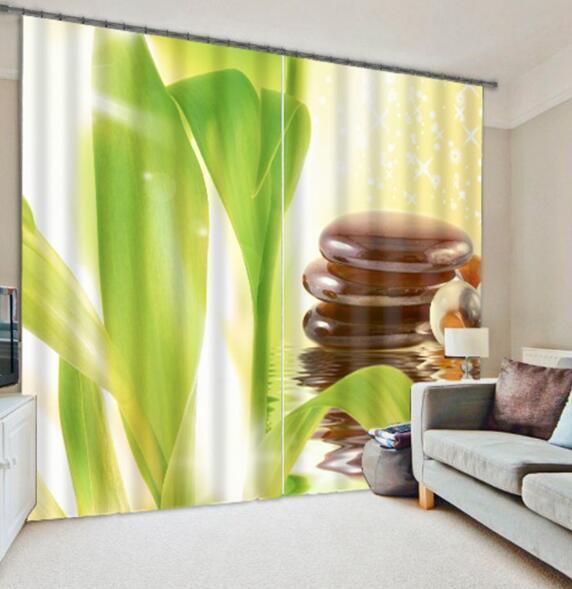 3D verde salir 6 Cortinas de impresión de cortina de foto Blockout Tela Cortinas Ventana au
