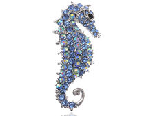 Hand Crafted Silver Blue Bird FLY Saphir alliage Cristal Strass Broche