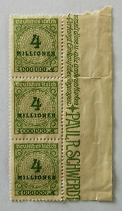 German-Deutsches-Reich-4-Millionen-Stamp-Weimar-Republic-1923-x-3
