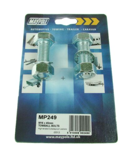 249 2 x Maypole BZP 8.8 Towball Bolts Nuts /& Shakeproof Washers M16 x 45.0 mm