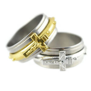 Jesus-Ring-Sideways-Crucifix-Cross-Stainless-Steel-Silver-Gold-Tone-Spinner-Band