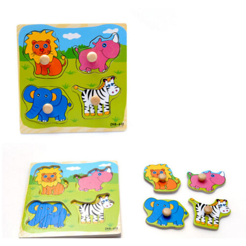 Adjustable Wooden Colorful Animals Brick Puzzle Kid Toddler Educational Toy