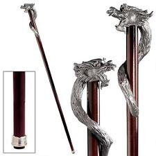 Italian Pewter Wizard Dragon Handle Polished Hardwood Cane Walking Stick