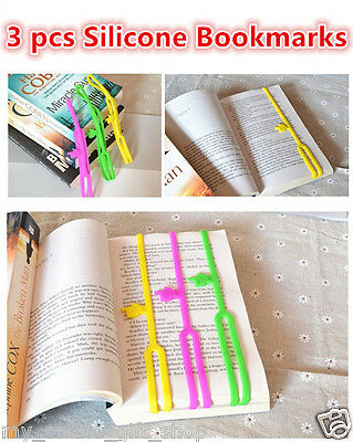 3 Pcs Silicone Bookmarks Note Pad Memo Stationery Book Mark Novelty Funny Gift