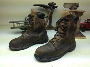 907aa05864c Details about USA RED WING DISTRESSED BROWN LEATHER STEEL TOE OIL RIG  ENGINEER WORK BOOTS 11D