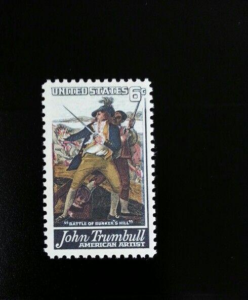 1968 6c John Trumbull, American Artist, Bunker Hill Sco