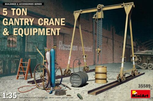 MIN35589 Miniart 1:35-5 Ton Gantry Crane /& Equipment