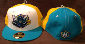 cheap for discount 649e0 3ee6f Details about New Orleans Hornets Throwback New Era 59FIFTY Fitted Hat  Yellow/Teal/White 7