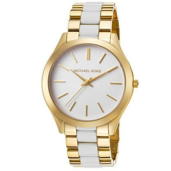 0247929b2e69 Michael Kors Women s Mk4295  slim Runway  Two Tone Stainless Steel Watch  for sale online
