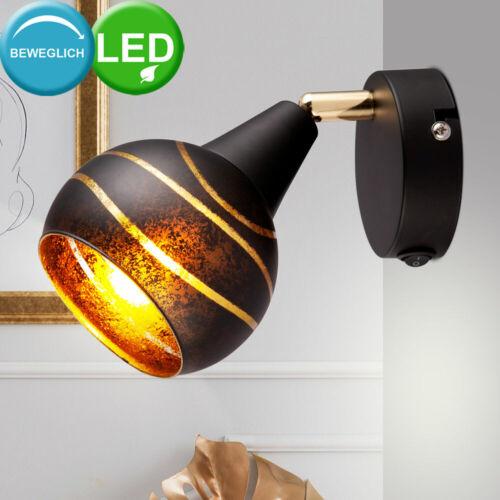 LED Wand Lampe Glas Kugel Spot SCHWARZ GOLD Wohn Zimmer Lese Leuchte verstellbar