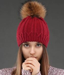 488a8d44ac9 Knitted Wool Women Hat Raccoon Fur Pompom Winter Skullies Beanies ...