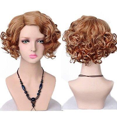 Lady Girl Light Brown Short Wavy Curly Hair Queenie Cosplay Side Bangs Charm Wig